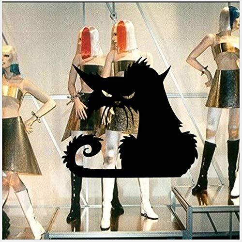 ber Geschnitzte schwarze Katzen-Glasaufkleber Personalisierte dekorative Aufkleber ()