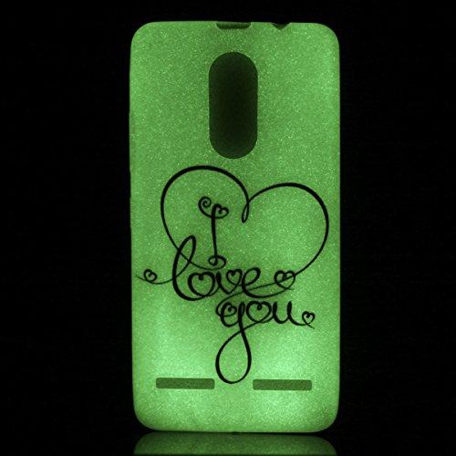 Lenovo K6 Silikongel Hülle (Mit Frei Griffel) KaseHom Leuchtende Wirkung Noctilucent Green Glow in der Dunkelheit Cool Mode Bunt Muster Entwurf Durchsichtig Ultra Slim Thin Matte Clear Stoßfest Weich  Love You