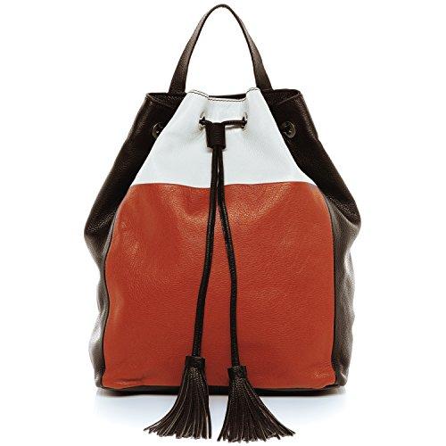 Orange-nappa Leder (BACCINI Rucksack echt Leder Napoli Backpack Tagesrucksack Stadtrucksack Lederrucksack Damen Mehrfarbig)