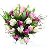 Blumenversand im Frühling - 20 St. gemischte Tulpen in rosa, lila, weiß, mit Heidelbeergrün - mit Gratis - Grußkarte zum Geburtstag versenden