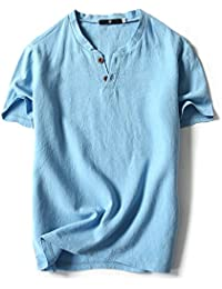 8584bb4ec VANCOOG Mens Short Sleeve Henley V-Neck Linen and Cotton t-Shirt With Button