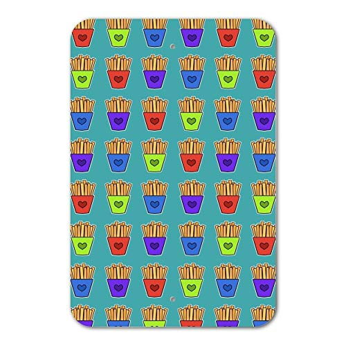 St574ony Metal Sign 6x9 Inches Funny Sign Poster Plaque Colorful French Fries Pattern Home Business Office Sign Friesen Satin