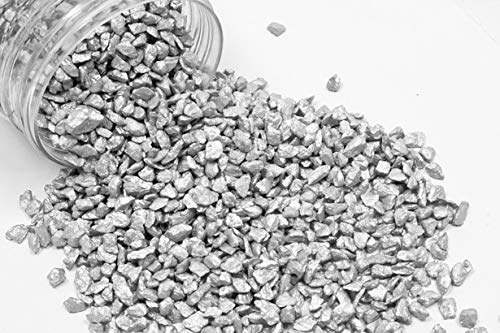 takestop® sassolini pietra pietre ciottoli sassi argento 400 grammi decorazione ornamento acquario fondale laghetto stagno giardino