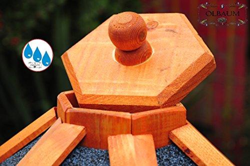 Vogelhaus-Futterhaus Massivholz,Massiv-Vogelhäuser, XXL ca. 70-75 cm, wetterfest Massivdach, mit Silo/Futtersilo für Winterfütterung,Gartendeko aus Holz blau grau BGX75blOS Vogelhäuser - 3