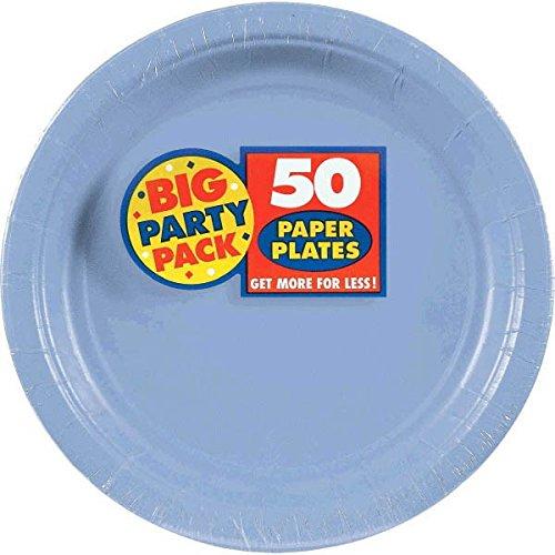amscan Pastel Blue Big Party Pack Speisetellern (50Zählen), 1, blau (Halloween De 2019 Pasteles)