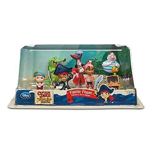 Disney Store Disney Jr. Jake and the Never Land/Neverland Pirates 7 Piece Action Figure Figurine Gift Play Set (Jake Und Die Nimmerland Piraten Captain Hook)