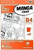 Clairefontaine 94049C Papier Manga Etui BD/Comic 40 feuilles unies 27,5 x 37,4 cm 200 g