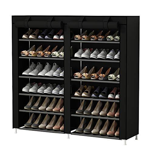 Udear portascarpe scarpiera mobiletto a 7 ripiani, capacit?fino a 36 paia di scarpe, scarpiera armadio nero