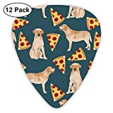 Yellow Labrador Pizza Cute Dog Design Dog Breed Funny Pizza Yellow Lab Design Yellow Labrador Retriever Classic Celluloid Picks, 12-Pack, For Electric Guitar, Acoustic Guitar, Mandolin, And Bass