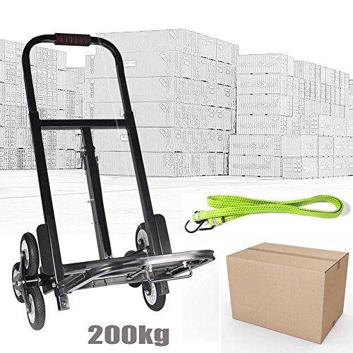 200kg Diable Pliant Escalier Chariot de Transport Demenagement à 2x3 Roues en Acier au Carbone