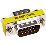 SVGA Mini Gender Changer / Coupler for PC, HD15 Male to HD15 Male