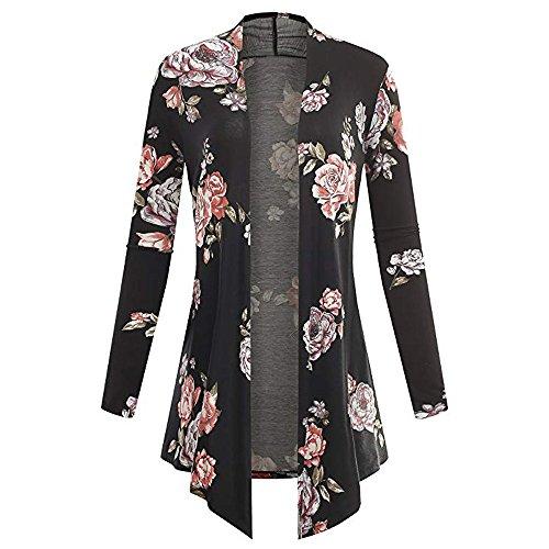 TUDUZ Damen Langarm Asymmetrisch Blumendruck Cardigan Mantel Tops Bluse Kimono Parka Outwear(X-Large,Schwarz)