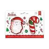 Decora 255068 Set 2 Tagliapasta Babbo Natale e Candy Cane, Plastica, Rosso