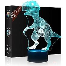 Lámpara Jawell ilusión 3D con diseño de dinosaurio, luz de noche modelo decorativo, interruptor por botón Smart Touch, regalo creativo para decoración de la casa o la oficina