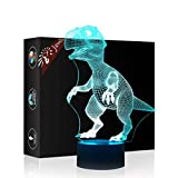 Dinosaurier Geschenk Nachtlicht 3D neben Tischlampe Illusion, Jawell 7 Farben ändern Touch Switch Schreibtisch Dekoration Lampen Geburtstag Weihnachtsgeschenk mit Acryl Flat & ABS Base & USB Kabel