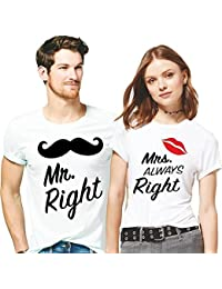 Hangout Hub Mr Right Mrs Always Right Printed Men Women Tshirts 100% Cotton Casual Half Sleeve Round Neck White...
