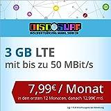 discoSURF Internet-Flat 3 GB LTE [SIM, Micro-SIM und Nano-SIM] 24 Monate Vertragslaufzeit (3 GB LTE mit max. 50 MBit/s, 7,99 Euro/Monat in den ersten 12 Monaten, danach 12,99 Euro / Monat ) O2-Netz preiswert