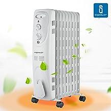 Aigostar Heating Girl 33IEI – Radiador de aceite de 9 elementos, 2000 Watios, dispone de 3 ajustes de potencia y control termostático de temperatura. Color blanco. Diseño exclusivo.