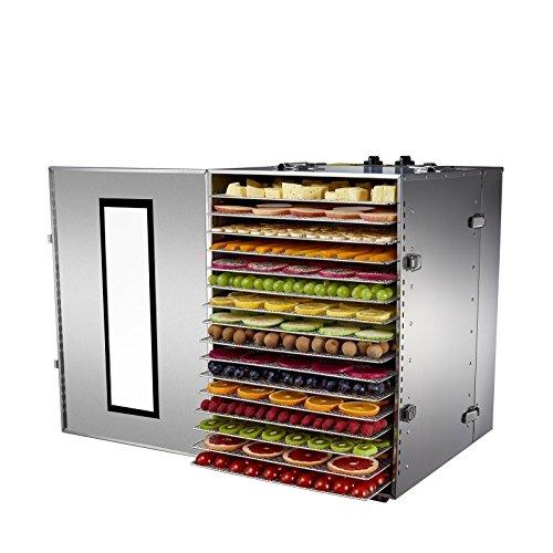 BioChef Premium kommerzieller Dörrautomat mit 16 Einschüben - 15 Stunden Timer, Edelstahl Gehäuse und Einschübe inkl.3 jahre kommerzielle Garantie