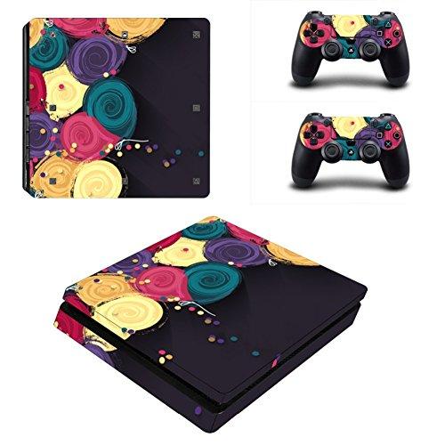 Happyit PS4Slim Skin Sticker Selbstklebend Beschützer Haut-Range-Vinyl für Sony Playstation 4Slim Konsole + 2haut-Controller (C) C1