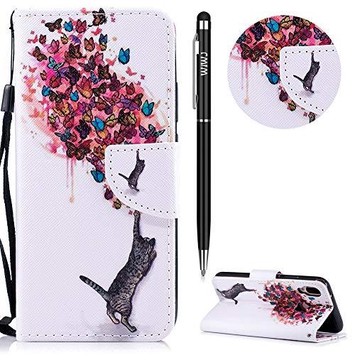 WIWJ Huawei P20 Lite Hülle,Huawei P20 Lite Leder Handyhülle, Wallet Case[Messerschnalle Lanyard Gemalt Ledertasche] Schutzhüllen für Huawei P20 Lite-Katze und Schmetterling -