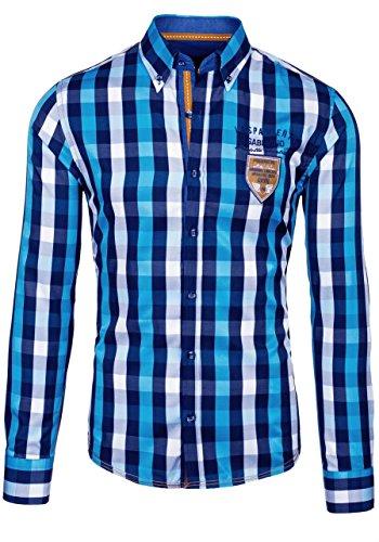 BOLF Herren Freizeithemd Herrenhemd Klassisch Kariert Hemd Slim Fit 2B2 Motiv Türkis