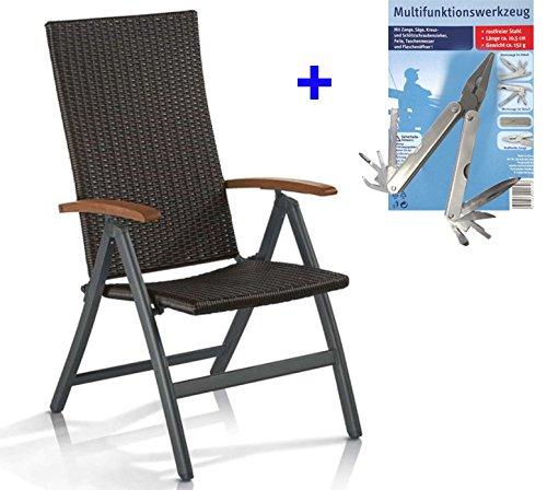 GEFLECHT KLAPPSESSEL BRAUN Rückenlehne 6-fach verstellbar Gartenstuhl Klappstuhl POLYRATTAN Stuhl...