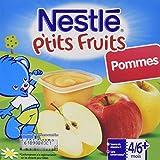 Nestlé Bébé P'tits Fruits Pommes Compote dès 4/6 mois 4 x 100 g - Lot de 6 (24 coupelles)