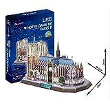 Puzzle 3D Notre Dame Cathedral World's Great Architectures LED Lighting Notre Dame de Paris Architecture Model Game Gift