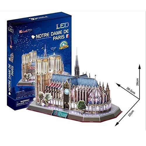 Luckyx Notre Dame De Paris Architekturmodell Mit LED-Beleuchtung 3D Puzzle DIY Simulation Montage Spielzeug Weltberühmte Architektonische Souvenir Spielzeug Kinder Pädagogische Spielzeug Blöcke (Architektonische Beleuchtung)