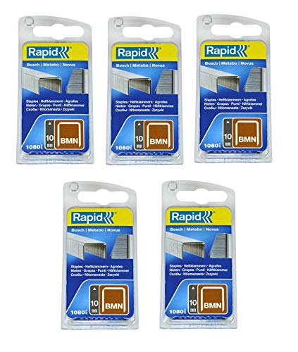 Rapid Heftklammern/Tackerklammern/Klammer für Bosch, Metabo und Novus Produkte, Typ BMN, Länge:10 mm, Breite: 11,2 mm, Stärke: 0,75mm, (5400 Stück)