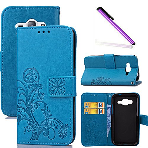 COTDINFOR J1 Ace Custodia Cover Lucky Clover PU in Pelle con Wallet Card Holder Stand Flip Case Copertura Custodia per Samsung Galaxy J1 Ace Clover Blue SD