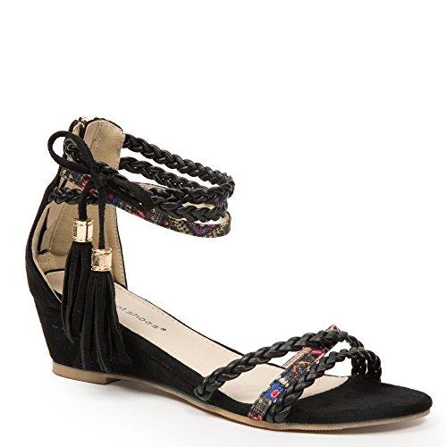 Ideal-semi-Shoes Sandali compensate effetto pelle con frange, con flangia navajo Laurita intrecciati e stampati Nero (nero)