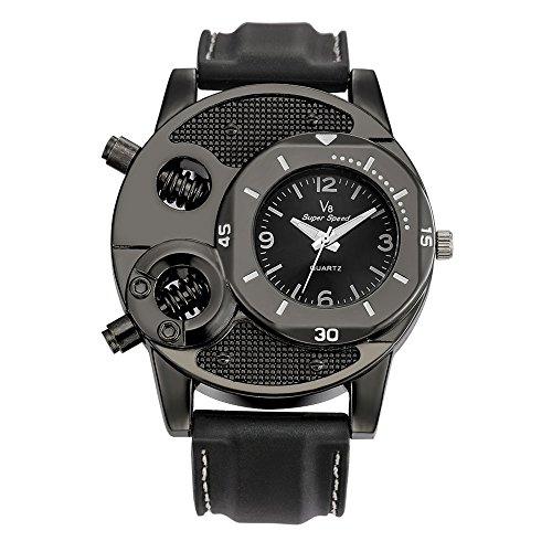 Holeider Herren Armbanduhr Analog Quartz Uhr mit Kunstleder Armband Mode Uhren Dünnes Silicagel Schwarz,