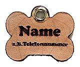 Creative Things (by Anja Betz) Anhänger Knochen fürs Halsband personalisiert ECHTES Leder! Hundemarke ohne geklimper! f. Hundehalsband Katzenhalsband Kette DogTag (creathi)