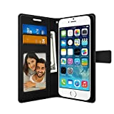 FOSO(™) Apple iPhone 5SE/5/5S/ High Quality PU Leather Magnetic Flip Cover Wallet Case (Black)
