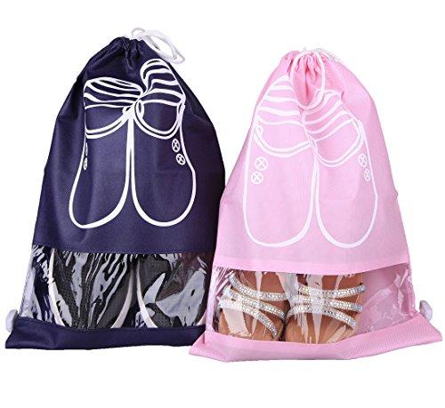 Leinwand Falten Anzug (10 Stück Schuhbeutel staubdichten Schuhtasche 43x30 cm,DIKETE Zugband Reise Schuh Taschen Kordelzug Schuh sack Transparentes Fenster Staubdicht Breathable)