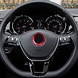 - ROT / RED - Selbstklebend Aluminium Ring 101933 VWRING Lenkrad Emblem Blende Abdeckung Rahmen Logo Aufkleber INION®
