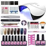 Saint-Acior 36W UV+LED Nagellampe Gel-Lack Starterset 10x UV Gel Nagellack für Gelnägel Nageldesigen UV Gel Lacken Farbgel Nagelset