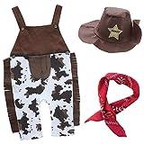 Agoky Baby Jungen 3Pcs Kleidung Set Träger Body Hose Halstuch Cowboyhut Kleinkind Kostüm Kinder Bekleidungsset Party Outfit Verkleidung Braun 74-86/6-12 Monate