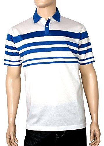 Modisches,sportives,sehr edles,hochwertiges Herren Poloshirt,Knopfleiste,aus 100% doppelt merzerisierter Baumwolle. Weiß/Royal Blue