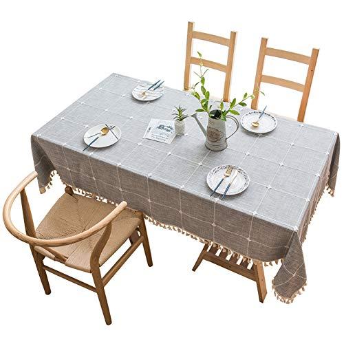 GEOLBU Grey Retro Tischdecke Rechteckige Tischdecke Baumwolle Leinen Tischdecke Abwaschbar Tischtuch...