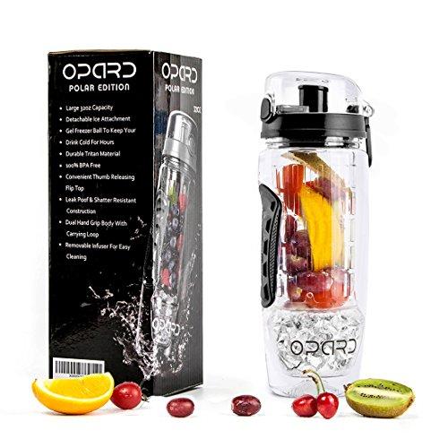 Opard Wasserflasche 1 Liter Fruit Infuser Sports Trinkflasche Water Bottle Tritan BPA-frei mit Kühlung Obst Flasche Kunststoff (Schwarz) (Eis-box Pc)