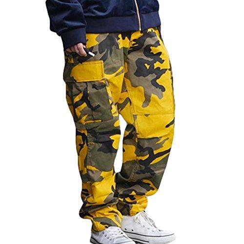 Gelbe Hosen Für Männer (Lose Hip Hop Sweatpants Yying Cargo Pants Herren Damen Camouflage Hose Gelb M)