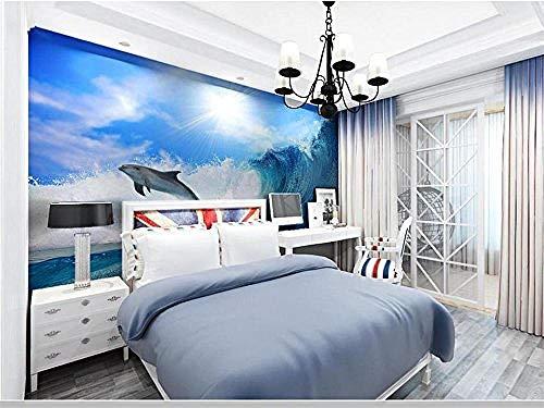 Fototapete,3D Wallpaper Custom Photo Tapeten Wandbild Betten Zimmer Dream Dolphin Wave 3D Malerei Tv Hintergrundbild für Wände 3D-300cmx210cm