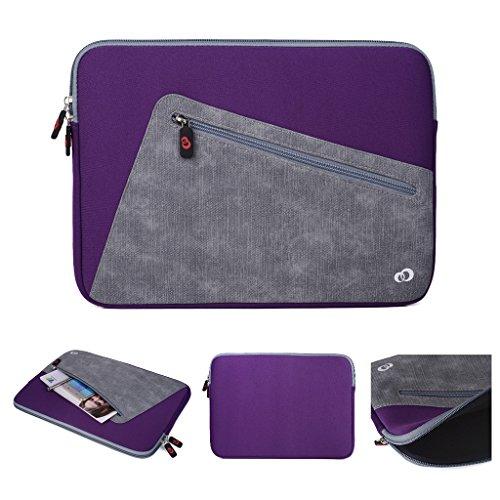 Kroo Tablet-Schutzhülle aus Neopren/Sleeve für Dell Latitude 12E5250. Vorne Reißverschluss Tasche für speicherbedarf violett Purple and Grey