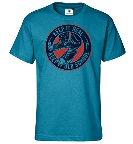 Bedrucktes Herren Converse Chucks Old School T-Shirt Keep it Real (XL, Türkis) (Old-school-xl T-shirt)