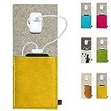 ebos Ladestation ✓Ladetasche aus Echtem Wollfilz und Kuhfell ✓ für Handys, Smartphones und Digitalkameras (Gelb/Hellgrau)