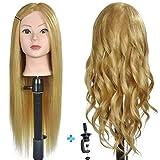 Weiblicher Frisierkopf mit 50% Echthaar, 61 cm, zum Flechten von Haaren, Friseur-Übung, Puppenkopf...