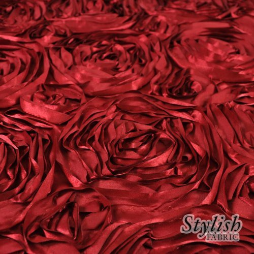 Cherry Rosette (Cherry Red Satin Rosette Fabric by the Bolt - 10 Yards by Stylishfabric)